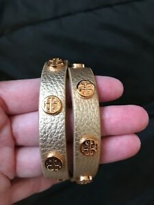 NWT TORY BURCH LEATHER BRACELET DOUBLE WRAP GOLD