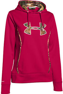 New Under Armour Womens Storm Caliber Hoody 1247106 Red Camo  SMLXL