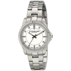 Stuhrling Women's 32mm Silver Steel Bracelet & Case krysterna Watch 408LL.01