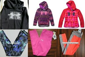 UNDER ARMOUR GIRLS LARGE LEGGINGS ~ HOODIE SWEATSHIRTS ~ TOPS 6PC NEW  $270