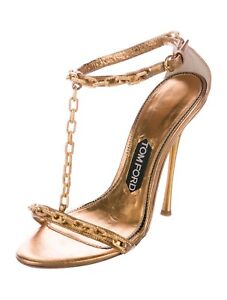 TOM FORD Chain Embellished Gold Sandals SZ 37 = US 6.5 - 7 - Worn-Once