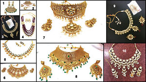 LCT Gold White Pearl Kundan Ruby Emerald Bollywood Padmavati Choker Necklace Set