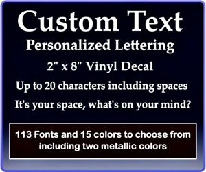Custom Text Vinyl Decal Personalized Lettering Window Laptop Yeti Cup Sticker $1.94