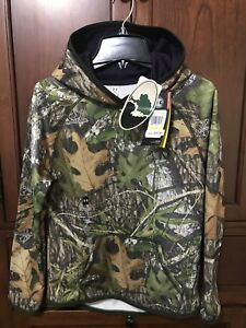 NEW Under Armour Hunting Hoodie Youth Med. Storm1 Water Resistant Mossy Oak