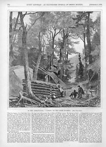 In the Adirondacks Camping on the Upper Ausable 1870 Antique Print