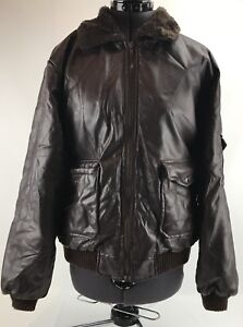 Synthetic Leather Jacket Coat Dark Brown Fur Lined Collar Size Large L