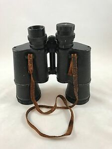 Vintage Pathescope Field Binoculars 7 x 50 Coated Lenses W Hard Carrying Case