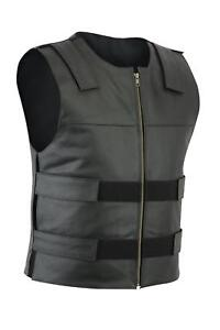 Men Bullet Proof style Leather Motorcycle Vest for bikers Tactical waistcoat
