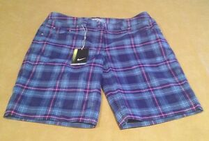 NWT Nike Golf Tour Performance Womens Size 10 Shorts DriFit Plaid Pink Blue NEW