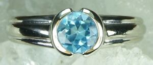 NEW Genuine Solid 9CT White Gold Real Natural Topaz Dress Ring   Size K or 5 18