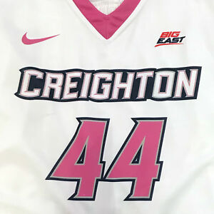 Creighton Basketball Jersey #44 with custom-lettered warm up shirt worn during