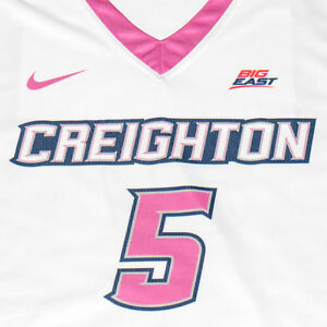 Creighton Basketball Jersey #5 with custom-lettered warm up shirt worn during