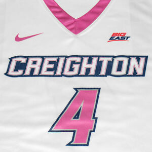 Creighton Basketball Jersey #4 with custom-lettered warm up shirt worn during