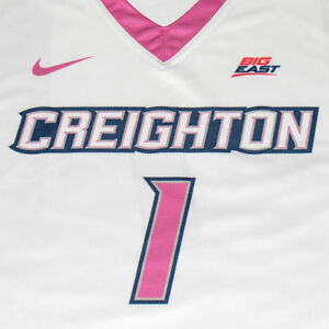 Creighton Basketball Jersey #1 with custom-lettered warm up shirt worn during