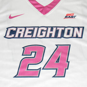 Creighton Basketball Jersey #24 with custom-lettered warm up shirt worn during