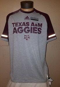 NEW Adidas NCAA Texas A&M Aggies Dry Fit Reflective Running Shirt Mens Large NWT