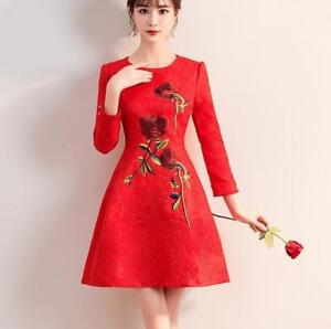 Women Formal Long Sleeve Cotton Mid Long Dress Gown Bride Slim Fit Red Skirts R