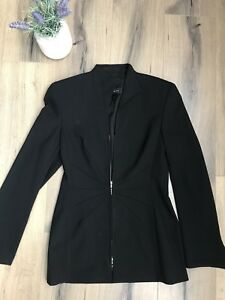 ESCADA 34 Sexy Sleek Black Fitted Stretch Designer Womens Jacket Blazer Small