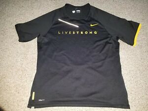 Mens Nike Fit Dry Livestrong Black Yelliw Short Sleeved Shirt Large