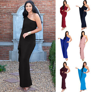 Womens Long Sexy One Shoulder Evening Cocktail Semi Formal Elegant Maxi Dress