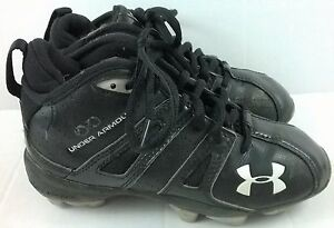 DIRTY Under Armour High Tops Black Youth 1Y Shoes Football Cleats Baseball
