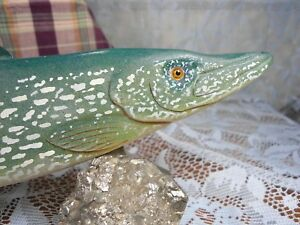 Northern Pike wood custom fish decoy weighted ice fishing lure stamped with R