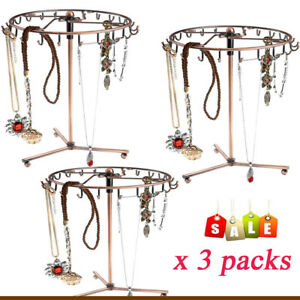 3x Rotating Jewel Tree Holder Organizer Bracelet Necklace Stand Hanging Display