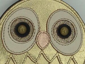 Women's FOSSIL Leather Gold Metallic OWL Coin Wallet - $48 MSRP