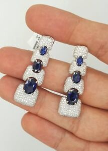 7.46 Ct 18K WHITE GOLD ROUND DIAMOND & OVAL SAPPHIRE HANGING CHANDELIER EARRINGS