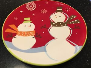 3  Be Merry Snowman TARGET Salad Luncheon PLATES Holiday 08 Christmas Platter