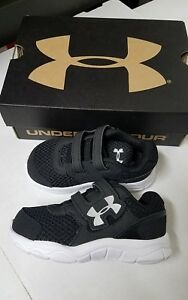 NEW UNDER ARMOUR B INF Engage BL 3 Boys Toddler Black White Sneakers Size 5K 5