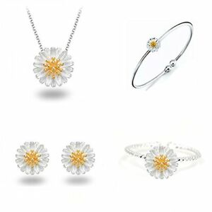 Daisy Bangle Stud Earrings Rings Necklace Gift for Little Girl Jewelry Sets