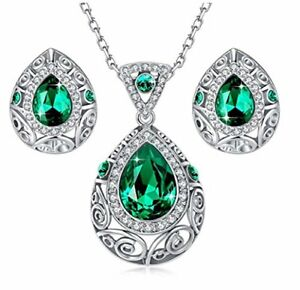 Austrian Crystal Jewelry Set Fashion Women Necklace and Earrings for Girls Gifts
