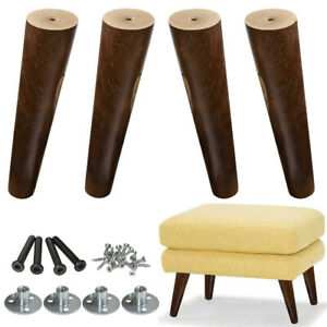 8'' Dark Walnut Tapered Wood Sofa Legs Couch Feet Footstool Armchair Replace4pcs