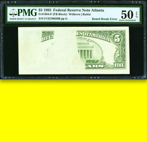 ♚EPIC Board Break♚ $5 PMG-50 EPQ █Extremely Rare This Extensive█ Five Dollars $5