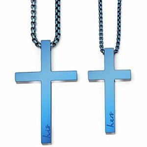 Matching Cross Necklace Set His Hers Pendant For Girls Boys Relationship (Blue)
