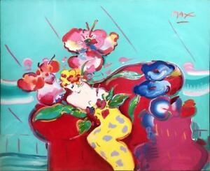 MASSIVE 60x72 PETER MAX FLOWER LADY ORIGINAL ACRYLIC ON CANVAS RETAIL $200000.