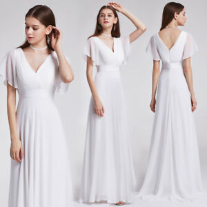 US Long White V-neck Evening Party Dresses Cocktail Prom Bridesmaid Dress 09890