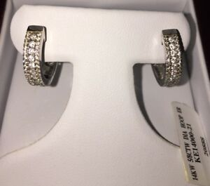 Diamond (natural)Hoop Earrings Channel Set in 14K White Gold (58CTW) $1059
