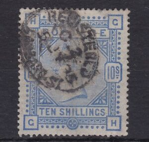 GB128) Great Britain 1883 10- Ultramarine on Blued paper SG 177