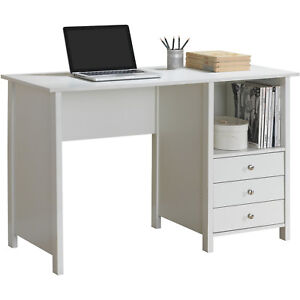 Contemporary White Large Work Writing Space Computer Desk with 3 Storage Drawers