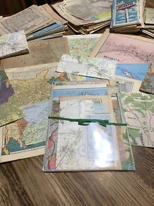 Vintage Map Scrap assortment early  Altered Art Craft,18 pages