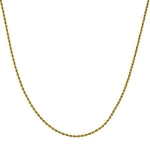 Men's Real Hollow 10k Yellow Gold 2mm Rope Chain Necklace Thin Ladies Choker New