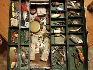 Early Swanco tackle box with Heddon Paw Paw Creek Chub Pflueger fishing lures