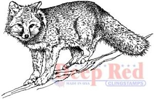 Deep Red Stamps Winter Fox Rubber Cling Stamp $5.99