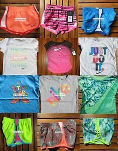 NIKE GIRLS 4T ~ 12 Pieces ~ SUMMER TEMPO RUNNING SHORTS  T-SHIRTS ~$280 RETAIL