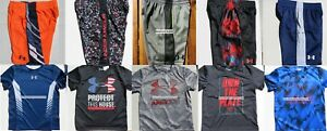 UNDER ARMOUR BOYS YOUTH SIZE 4 ~ SHORTS ~ TOPS ~ NWT ~ 10PC ~ $250 ~ NEW