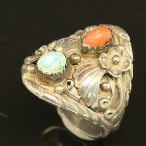 NATIVE AMERICAN Turquoise Coral Flower Leaf Design Sterling Silver Ring ~ Sz 7