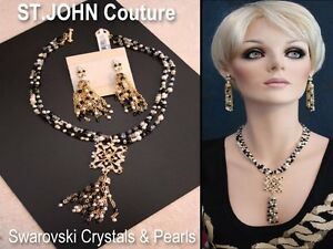 NWT St. John Knits Pearls Black Enamel Swarovski Crystals Necklace Earring SET