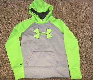 Girls Under Armour Grey Lime Green Logo Coldgear Storm Hoodie Youth Medium